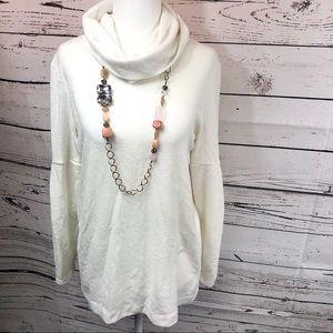 Lou & Grey Cream Cowl Turtleneck Sweater Blouse